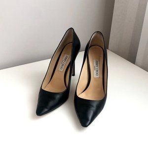 Jimmy Choo Romy 100mm Leather Pumps Black Stiletto